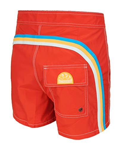 Sundek Herren Badehose Original - BS/RB - Low Rise 14' Fire Red #5 Shorts Meer Rot, M502BDP0300,...